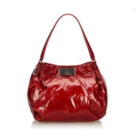 Céline-Celine Red Patent Leather Shoulder B-Red
