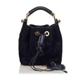 Chloé-Chloe Blue Fur Gala Bag-Blue,Dark blue