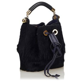 Chloé-Chloe Blue Fur Gala Bag-Blue,Dark blue