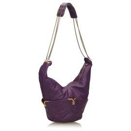 Chloé-Chloe Purple Leather Chain Shoulder Bag-Purple