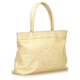 Chanel-Chanel Brown Caviar Leather Tote-Brown,Beige