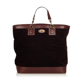 Céline-Celine Brown Corduroy Tote Bag-Brown,Dark brown