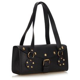 Céline-Celine Black Studded Leather Shoulder Bag-Black
