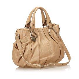 Céline-Sac porté épaule en cuir marron Celine-Marron,Beige