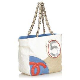 Chanel-Chanel White No.5 Sport Canvas Tote Bag-White,Multiple colors,Cream