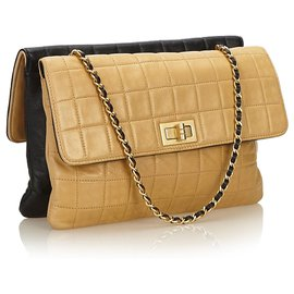 Chanel-Chanel Brown Choco Bar Reissue Shoulder Bag-Brown,Black,Beige