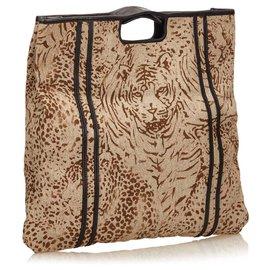Chloé-Chloe Brown Printed Fiber Tote Bag-Brown,Black,Beige
