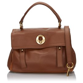 Yves Saint Laurent-YSL Brown Leather Muse Two Satchel-Brown