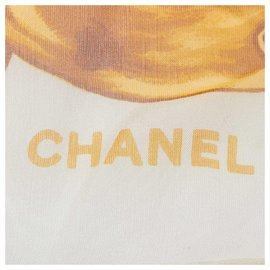 Chanel-Chanel White Printed Silk Scarf-White,Multiple colors,Cream