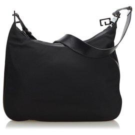 Gucci-Gucci Black Nylon Shoulder Bag-Black