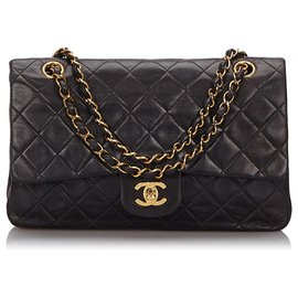 Chanel-Chanel Black Classic Medium Lambskin Double Flap Bag-Black