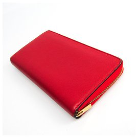 Céline-Celine Red Calfskin Long Wallet-Red