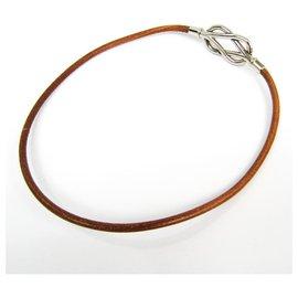 Hermès-Ras-de-cou Atame en cuir Barenia brun Hermes-Marron,Argenté