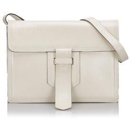 Yves Saint Laurent-YSL White Leather Crossbody Bag-White
