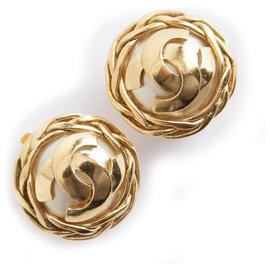 Chanel-Chanel pearl CC clip on earrings-Golden