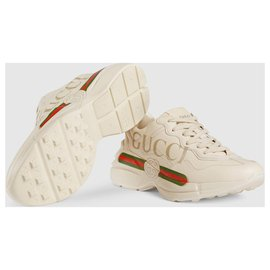 Gucci-Rhyton Gucci logo leather sneaker-White