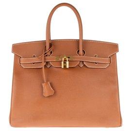 Hermès-Superbe Birkin 35 en cuir Gold, accastillage plaqué or en très bon état !-Doré