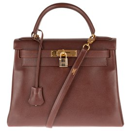 Hermès-Superb Hermes Kelly 28 back to Courchevel Cocoa leather shoulder strap, gold plated hardware-Brown