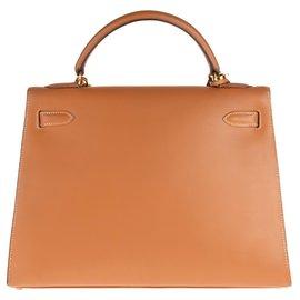 Hermès-Superbe Hermès Kelly 32 sellier à bandoulière en cuir Chamonix Gold, accastillage plaqué or en très bon état!-Doré