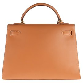 Hermès-Superb Hermes Kelly 32 saddle with leather shoulder strap Chamonix Gold, gold plated hardware in very good condition!-Golden