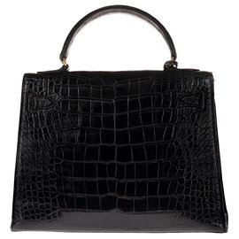 Hermès-Superb Hermes Kelly 28 black Porosus Crocodile saddle, gold plated hardware in very good condition!-Black