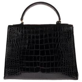 Hermès-Superbe Hermès Kelly 28 sellier en Crocodile Porosus noir, accastillage plaqué or en très bon état !-Noir