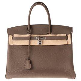 Hermès-Hermès Birkin 35 en cuir Togo couleur Taupe, accastillage Palladié, en excellent état !-Taupe