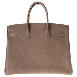 Hermès-HERMES BIRKIN 35 leather Togo color Taupe, Palladie hardware, in excellent condition!-Taupe