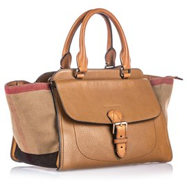 Burberry-Burberry Brown House Check Harcourt Satchel-Brown,Multiple colors,Beige