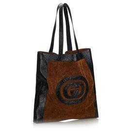 Gucci-Grand sac cabas en daim ophtalmique brun de Gucci-Marron,Noir
