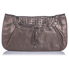Autre Marque-Pochette en cuir tressé métallisé brun Ferragamo-Marron,Bronze