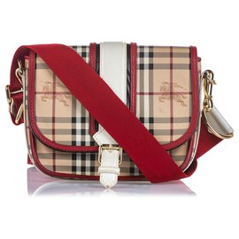 Burberry-Burberry Brown Haymarket Check Canvas Crossbody Bag-Brown,Multiple colors,Beige