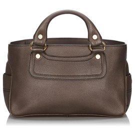 Céline-Celine Brown Leather Boogie-Brown,Dark brown