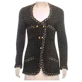 Chanel-Chanel classic tweed jacket FR38-Dark grey