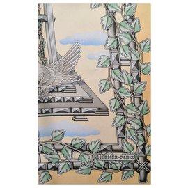 Hermès-Sublime carré Hermès foulard modèle Envol-Jaune
