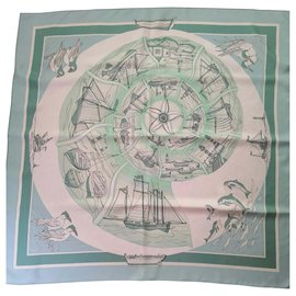 Hermès-Sublime square Hermès scarf decors sea companions-Light green,Light blue