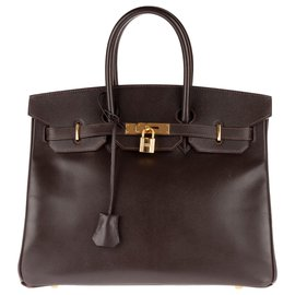 Hermès-HERMES BIRKIN 35 leather Courchevel Coffee color, gold plated hardware, In very good shape !-Brown