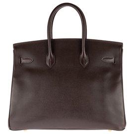 Hermès-Hermès Birkin 35 en cuir Courchevel couleur Café, accastillage plaqué or, en très bon état !-Marron