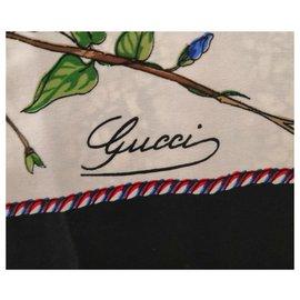 Gucci-Superbe foulard Gucci vintage-Noir,Blanc