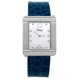 "Poiray-Poiray ""Ma Première"" watch, steel and diamonds on leather.-Other"