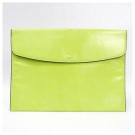 Valextra-Pochette Valextra en cuir vert-Vert,Vert clair