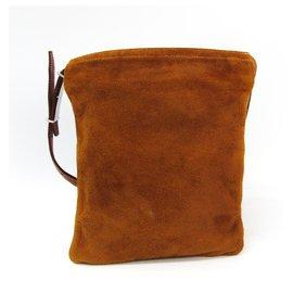 Hermès-Hermes Pochette à la taille en cuir marron-Marron