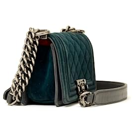 Chanel-VELVET BOY MICRO-Grey,Dark green
