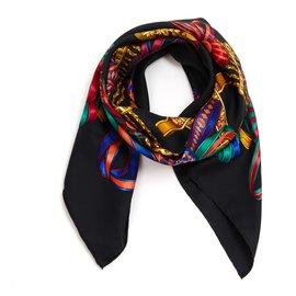 Hermès-LES RUBANS DU CHEVAL-Noir,Multicolore