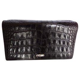 Longchamp-Wallets-Dark brown