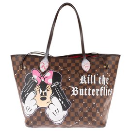 Louis Vuitton-Stunning Louis Vuitton Neverfull MM Checkered Ebony Tote Bag Customized by the artist PatBo!-Brown,Pink