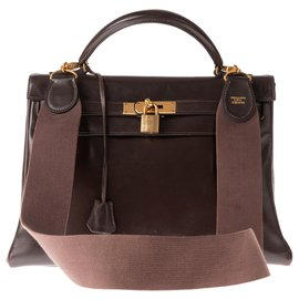Hermès-Hermes Kelly bag 32 returned in cocoa box leather with sport shoulder strap-Brown