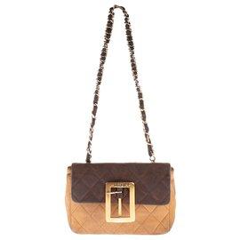 Chanel-Charmant Mini sac Chanel bandoulière en cuir d'agneau matelassé marron et beige-Marron,Beige