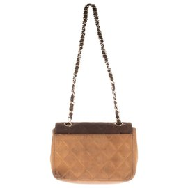 Chanel-Charming mini bag Chanel shoulder strap in lambskin leather quilted brown and beige-Brown,Beige
