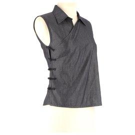 Miu Miu-Wrap blouse-Navy blue